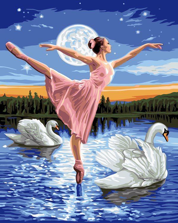 Schilderen op Nummer – Balletdanseres met Zwanen